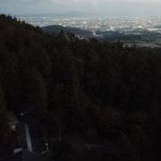 秋の竜王山と夕暮れ